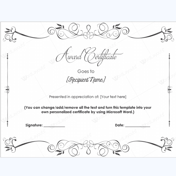 award certificate word