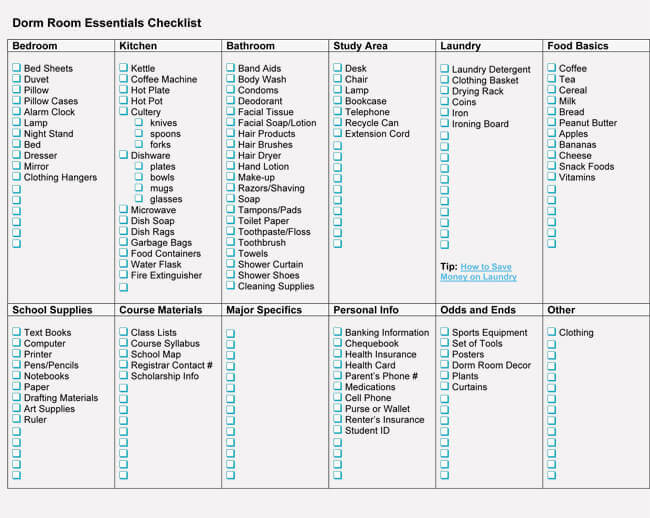 Dorm Room Checklist Samples For College Word Excel - Dorm room essentials