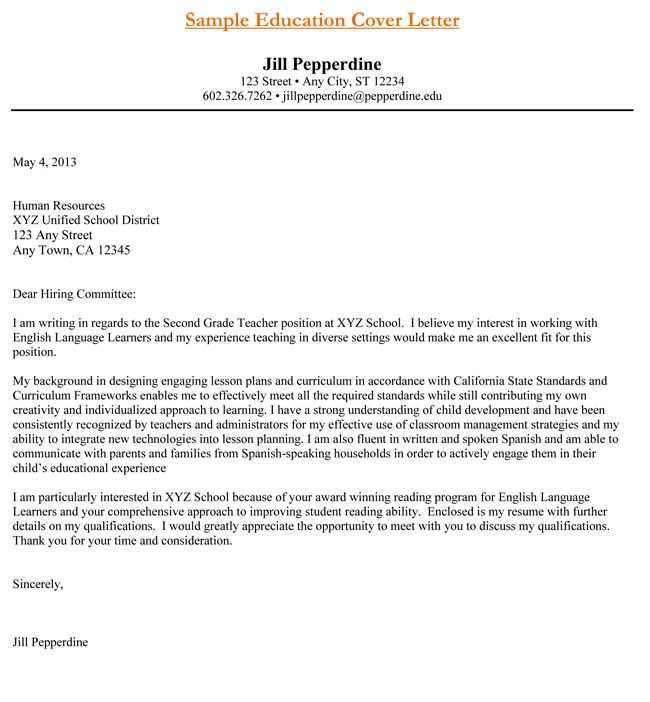 Free Elementary Teacher Cover Letter Sample