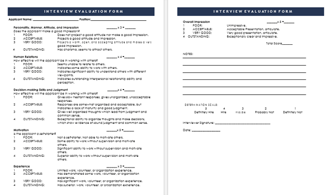 5 Best Interview Evaluation Form Examples and Templates – Interview Evaluation Forms