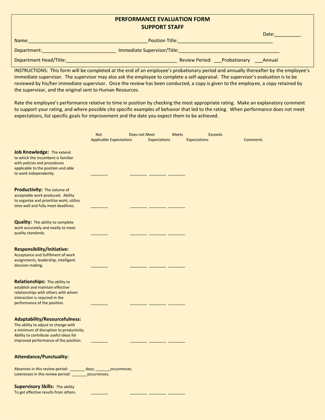 Performance Evaluation Form for Employees