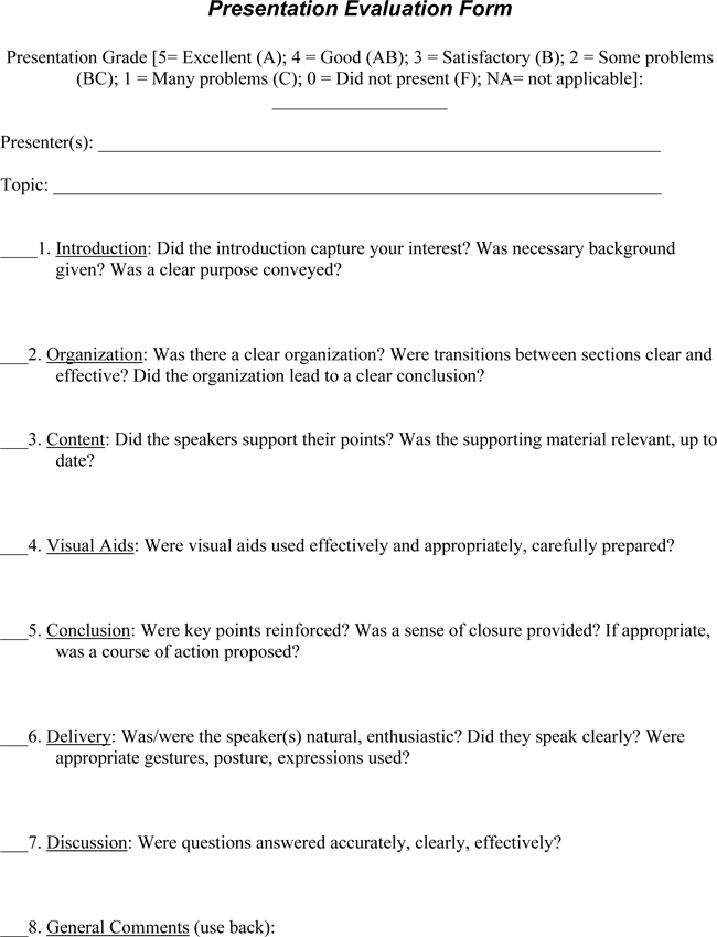 Presentation Evaluation Form Templates