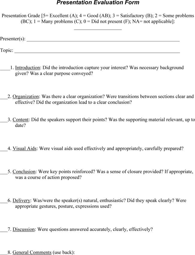 Presentation-Evaluation-Form-Templates Teacher Performance Evaluation Examples on
