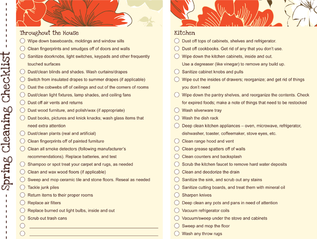 Spring Cleaning Checklist PDF