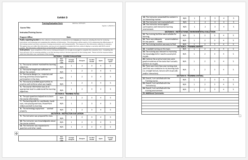 Training Evaluation Form Templates Evaluate The Progress
