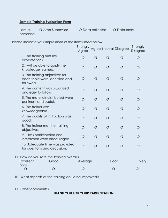 Training Evaluation Form Templates Word