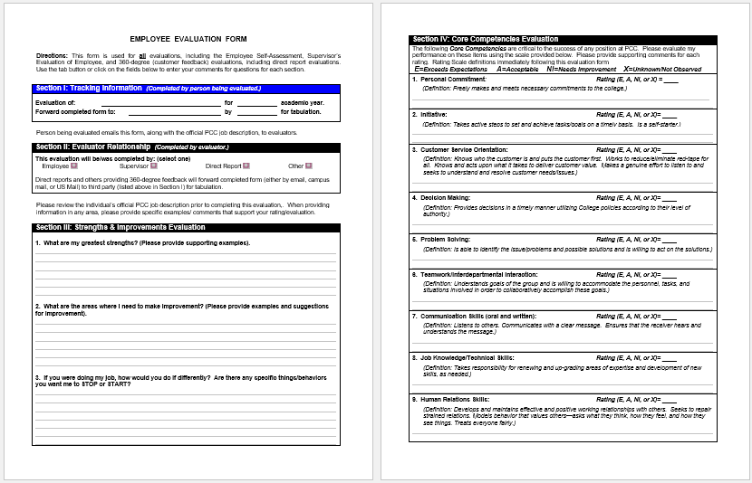 7 Employee Evaluation Form Templates To Test Your Employees