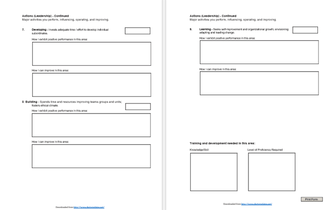Employee Self Evaluation Form Samples