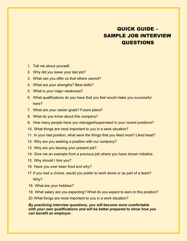 49 Sample Interview Questions With Practice Sheets