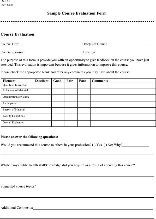 Course Evaluation Form Doc