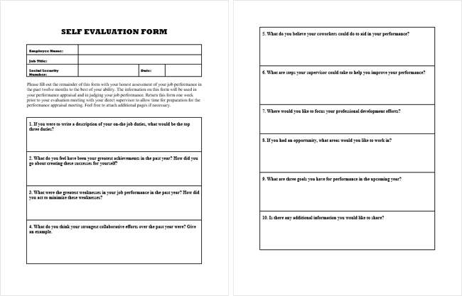 Self Evaluation Form Samples - Evaluate Your Self
