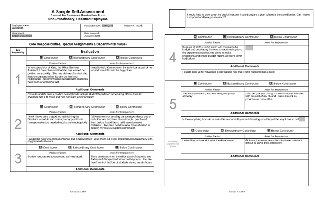 Employee Self Evaluation Form Excel At Document Templates