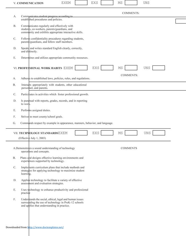 teacher evaluation forms