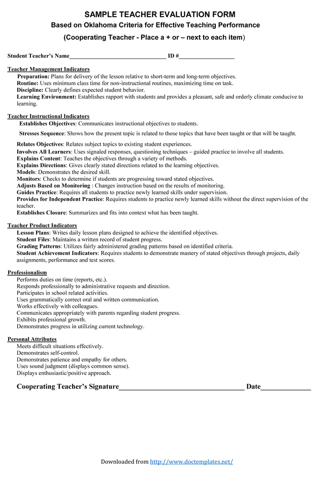 Teacher Evaluation Form For Administrators