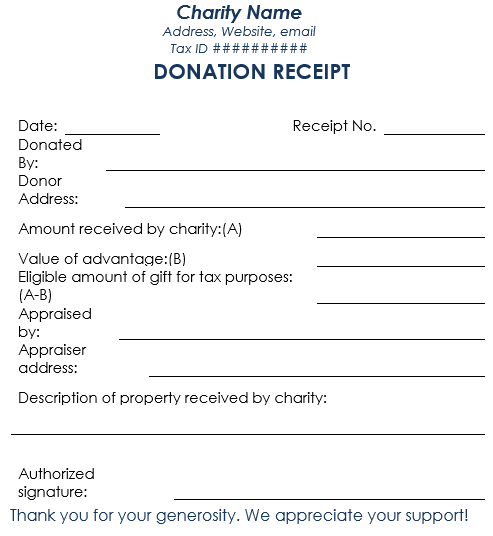 Blank Donation Receipt Template Word