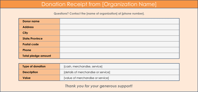 Donation Receipt Template for Excel