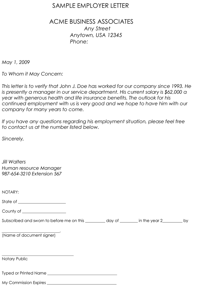 letter of verification of employment samples