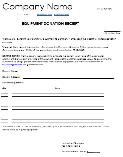 Equipment Donation Receipt Example