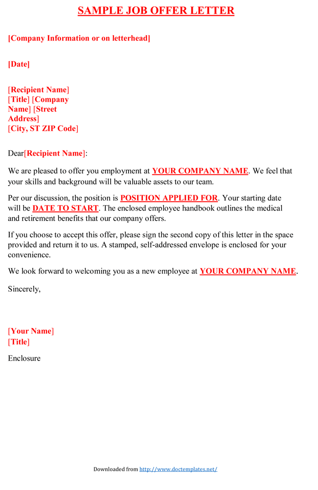 job offer letter from employer to employee