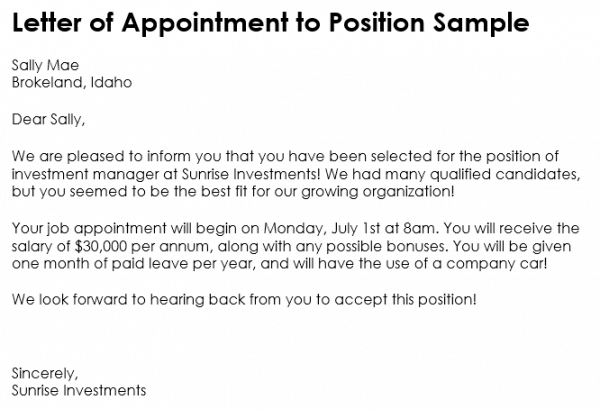 10 Samples of Appointment Letter Format in PDF and Word – Appointment Letter