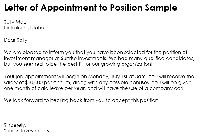 job appointment letter sample india