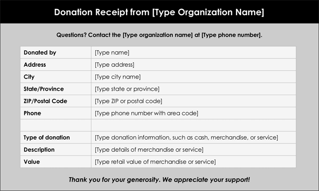 12 Free Samples of Donation Receipt Template – Goods Receipt Form