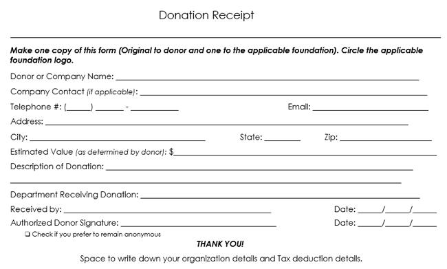 Sample Donation Receipt Template  Cheque Received Receipt Format