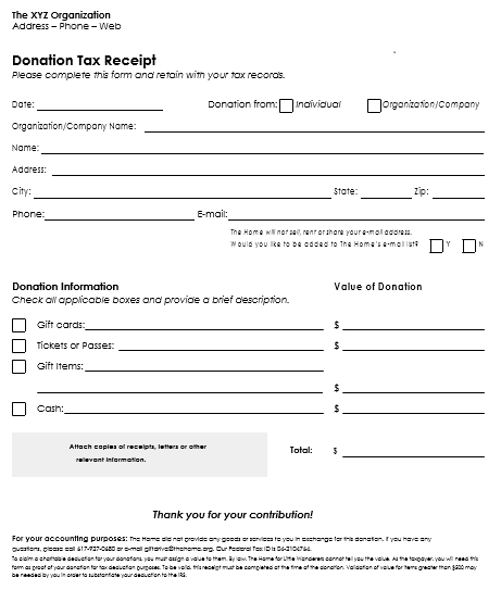 12 Free Samples of Donation Receipt Template – Generic Donation Form