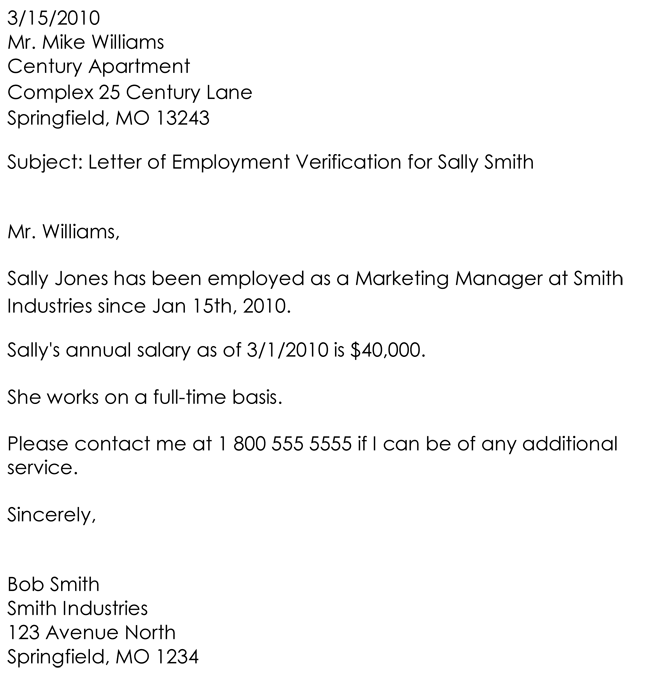 employment verification letter samples templates - Verification Of Employment Sample Letter