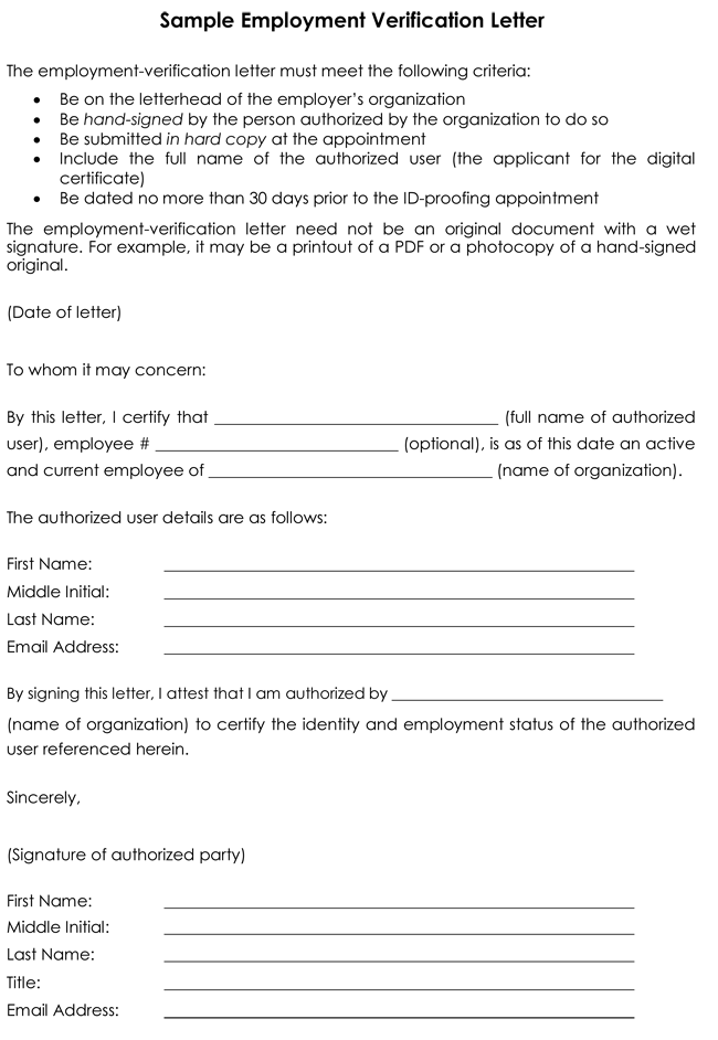 Choose from 8 Employment Verification Letter Samples – Previous Employment Verification Letter