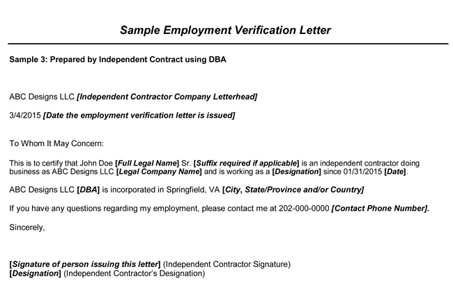 Choose from 8 Employment Verification Letter Samples – Example Employment Verification Letter