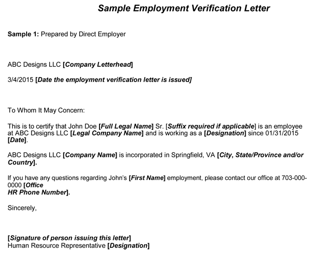 employment verification letter - Verification Of Employment Sample Letter
