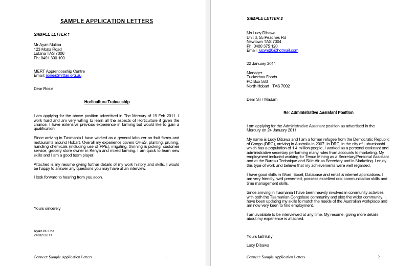 Letter of Application Examples for Job