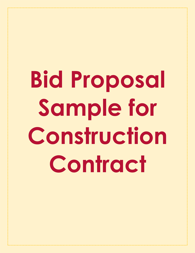 Bid Proposal Sample for Construction Contract