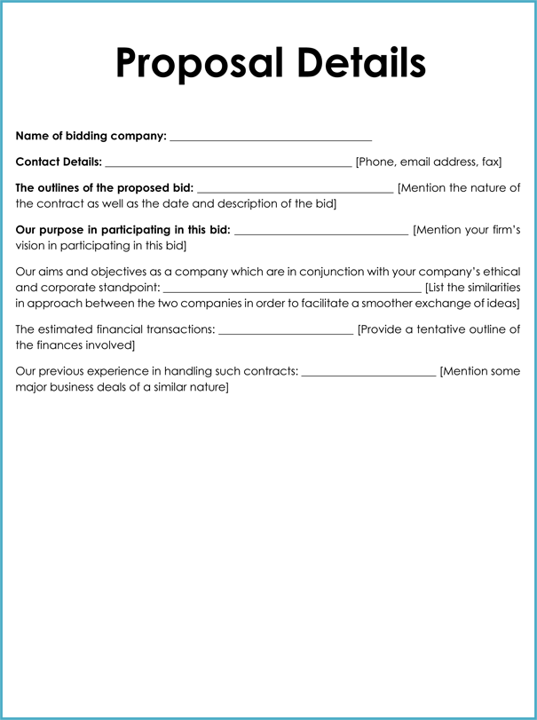 business bid proposal template for word