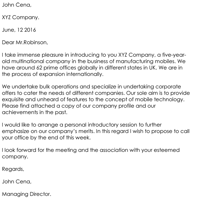 Company Letter of Introduction Word