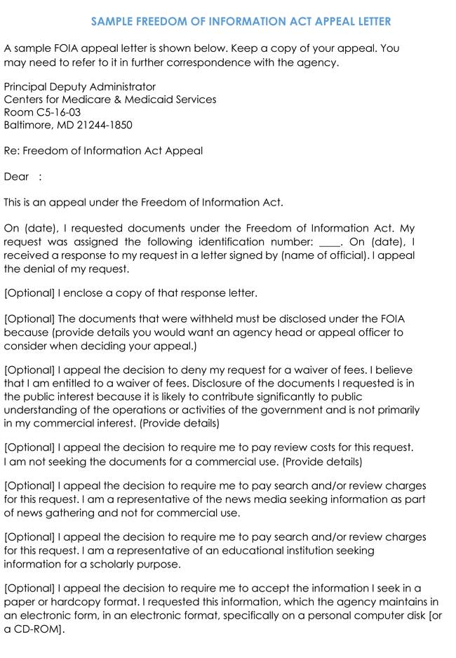 Freedom of Information Act Appeal Letter Template
