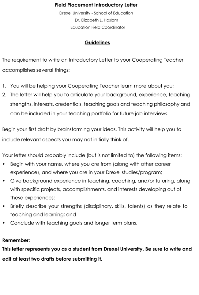Letter of Introduction for Teacher
