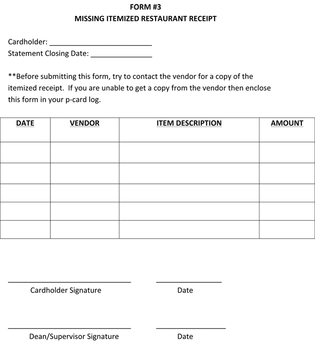 Restaurant Itemized Receipt Template