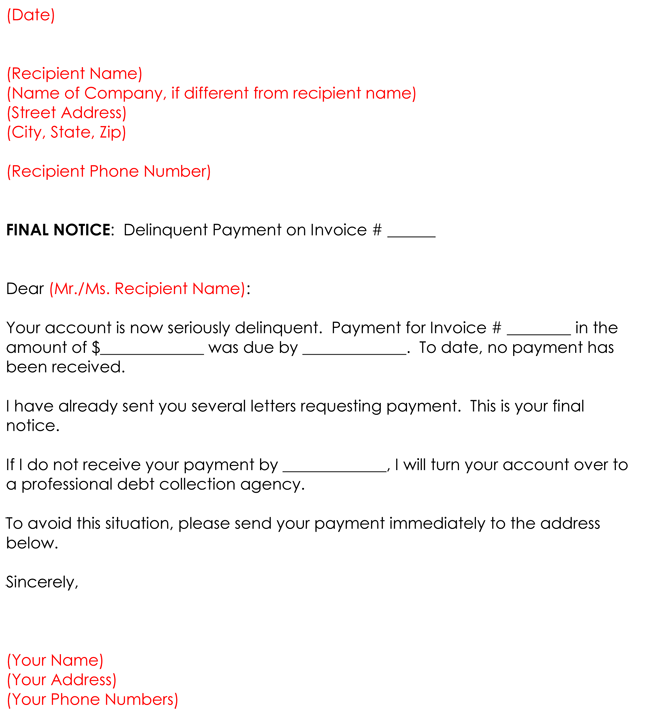 Collection letter templates 8 sample letters for debt collection ultimatum collection letter templates altavistaventures Choice Image