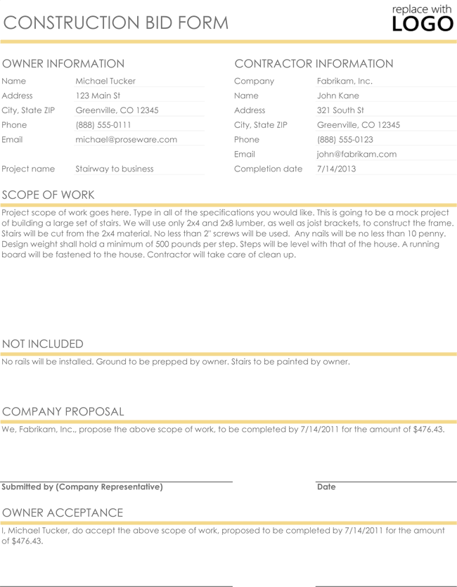 Construction Bid Proposal Template Excel  Construction Proposal Template