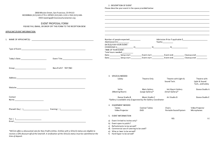 Event Proposal Fill able Form Template