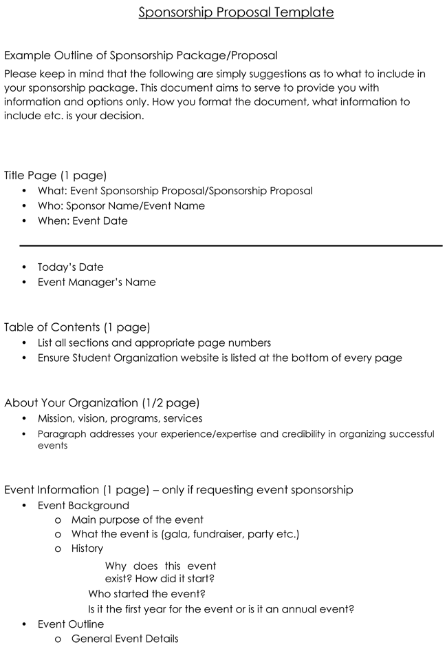 Example Outline Of Sponsorship Proposal