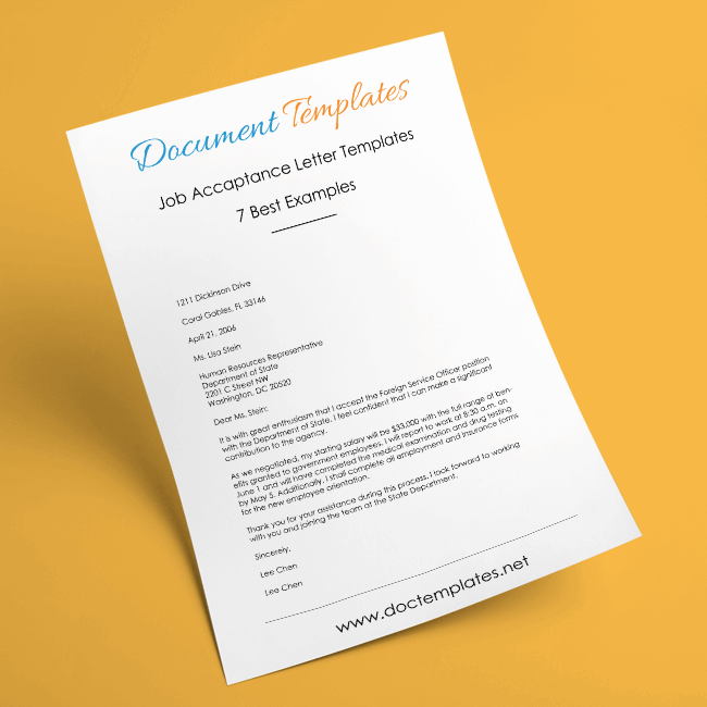 Job Acceptance Letter Templates – 7 Examples to Stay Professional