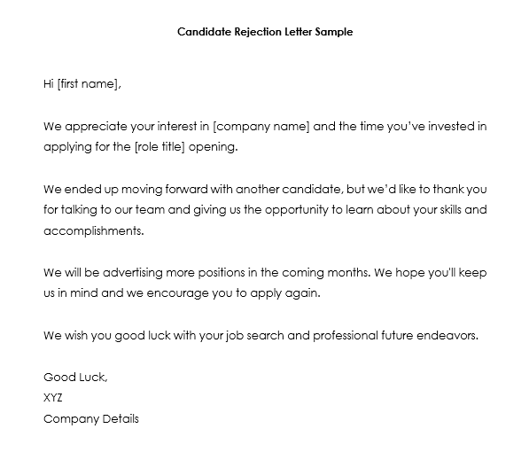 job candidate rejection letter samples