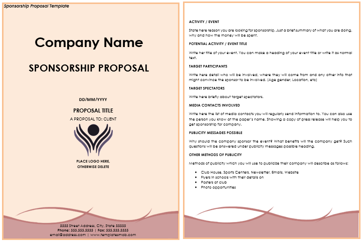 Sponsorship Proposal Templates 10 Samples Amp Letter Formats