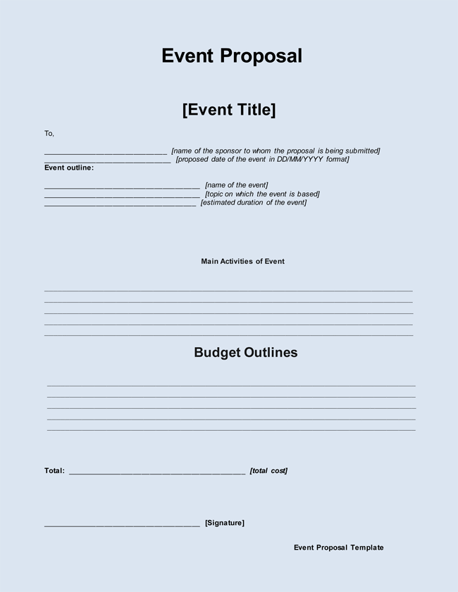 Event Proposal Form Format  Proposal For Event