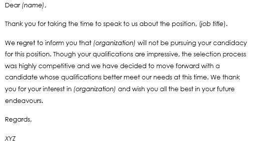 Job Candidate Rejection Letter Samples   Best Formats And Templates