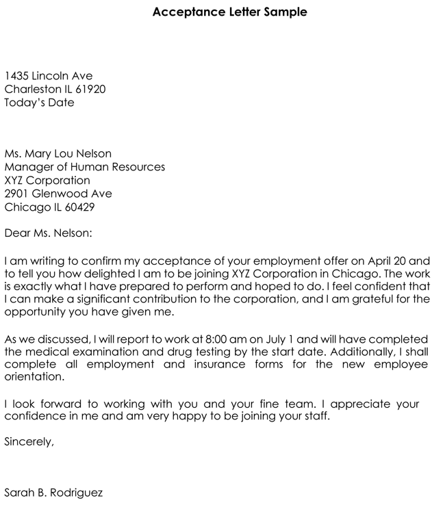 sample job acceptance letter templates