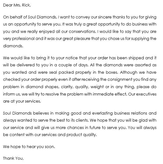 After Sales Follow Up Letter Example